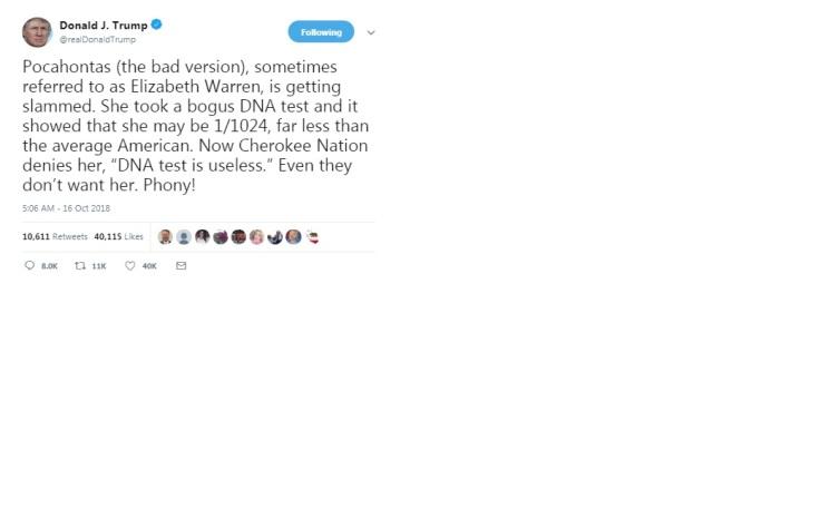 Trump tweet regarding Warren DNA