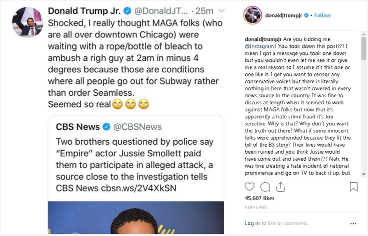 donald trump Jr. Instagram regarding smollett
