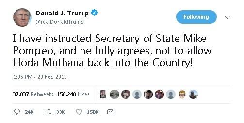 President Trump - Hoda Muthana tweet